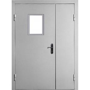 Входная дверь Противопожарная двустворчатая остекленная